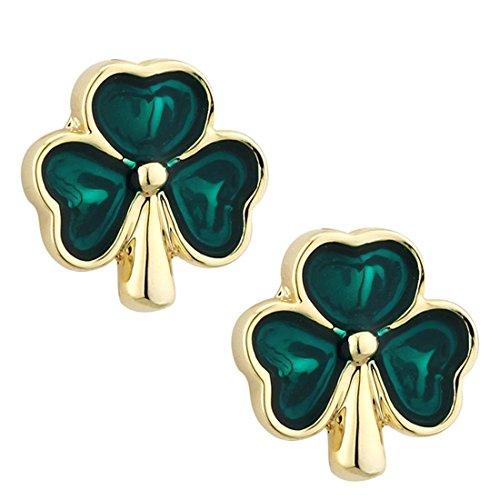 Solvar Green Shamrock Earrings Gold Plated Studs & Enamel Irish Made