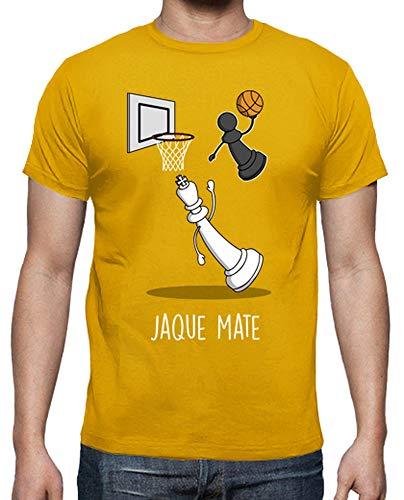 latostadora - Camiseta Jaque Mate Black para Hombre Amarillo Mostaza L