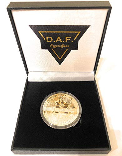DAF CryptoGear Bitcoin Collectible Gold Bitcoin Coin & Gift Box Cyrptocurrency Gift Idea for Any Occasion / Birthday / Christmas / Home Decor / Office Desk Display