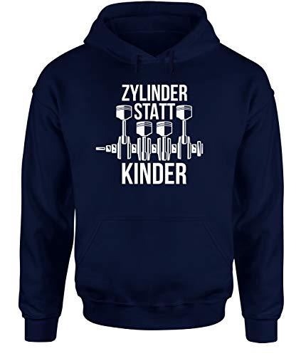 tshirtladen Zylinder statt Kinder Unisex Hooide Statementhoodie Autohoodie, Farbe: Navy, Größe: Large