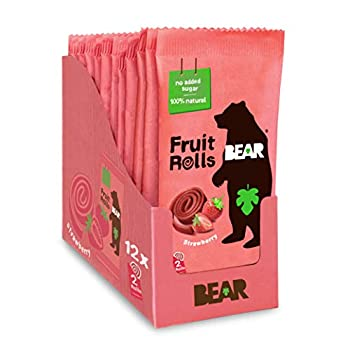 BEAR Real Fruit Snack Rolls - Gluten Free Vegan and Non-GMO - Strawberry – 12 Pack  2 Rolls Per Pack  - Healthy School And Lunch Snacks For Kids And Adults