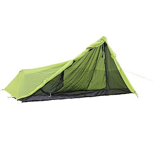 QuRRong Tienda de Campaña Double Deck Tienda al Aire Libre Individual Ultraligero Poste de Aluminio Carpa Carpa Alpinismo de Verano para Camping Garden (Color : Verde, Size : 1 Person)