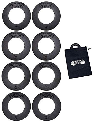 Micro Gainz Calibrated Fractional Weight Plate Set of .25LB-.50LB-.75LB-1LB Plates (8 Plate Set) w/Bag- Designed for Olympic Barbells, Used for Strength Training & Micro Loading, Made in USA