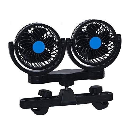 Creative Fan Jiale Car Fan-HJCA1906525 Fan 12V Double Head Car Seat Clip Cooling Fan 360 Degrees, Rotating Car Through Fan Cooler Strong Wind Low Noise Black The Best Helper for Home Office