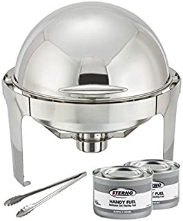 Winware 6 Quart Stainless Steel Round Roll Top Chafer, Chafing Dish Set with 2 Chafing Dish Methanol Gel Fuel and 16-Inch Stainless Steel Multi-Function Tong