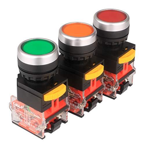 Gebildet 3pcs 22mm Enganche Interruptores de Botón 10A 12V-24V-48V-110V-230V-380V 1NO 1NC DPST Pulsador Interruptores LA38-11BN (Rojo/Amarillo/Verde)