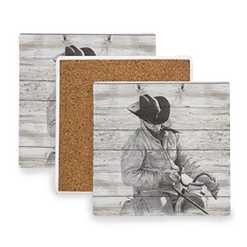 PANILUR Westcowboy Hero Men Riding Horse Rustikale Holzplanke,Untersetzer Saugfähige Keramik,für Tassen Tisch Bar Glas(4 Packs)