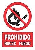 Señal prohibido hacer fuego – PVC 0,7mm – 21 x 30 cm – cartel señal prohibido