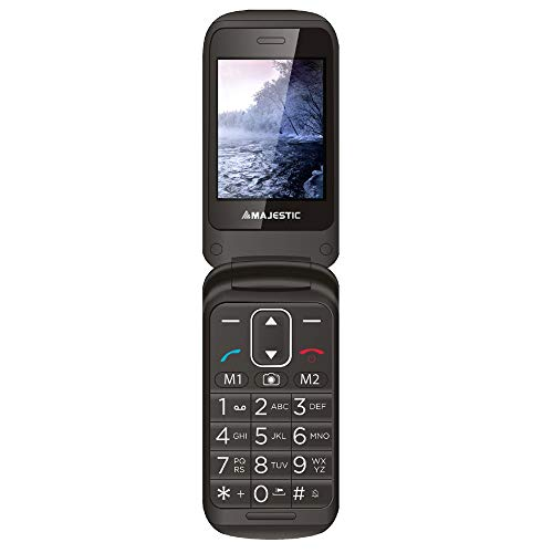 Majestic TLF SILENO 50R FLIP – Senior phone con doppio display TFT a colori, bluetooth, fotocamera, flip attivo,torcia LED, tasto SOS, Base di ricarica, Nero