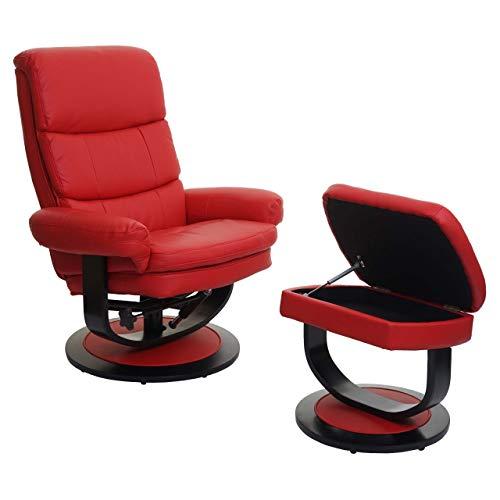 Mendler Relaxsessel HWC-C16, Fernsehsessel TV-Sessel Hocker mit Staufach ~ Kunstleder rot
