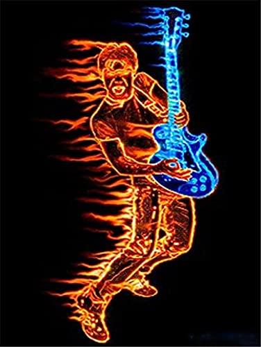 Cuadro Diamantes 5d Tocar la guitarra Bricolaje Rhinestone Bordado de Punto de...