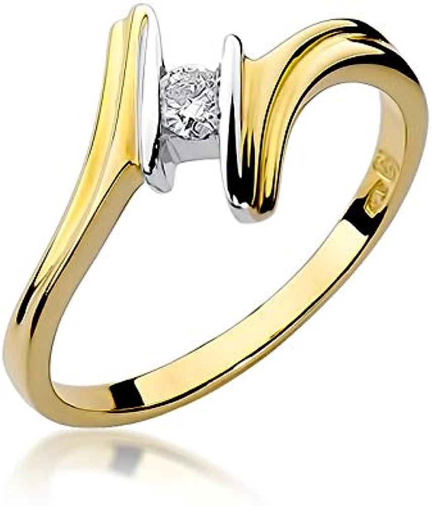 Anello solitario da donna in oro giallo 585, 14 carati, con diamanti naturali R8A