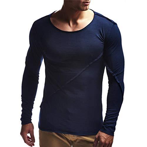 Paolian T-Shirt de Couture lâche à Manches Longues Couleur Unie pour Hommes, élégant et Confortable Chandail d'automne et d'hiver pour Hommes