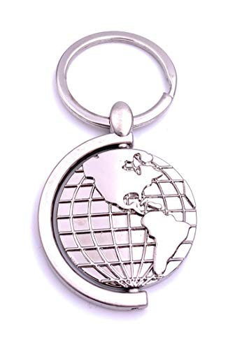 Onlineworld2013 Globus Erde Weltkugel Schlüsselanhänger Keychain Silber Metall