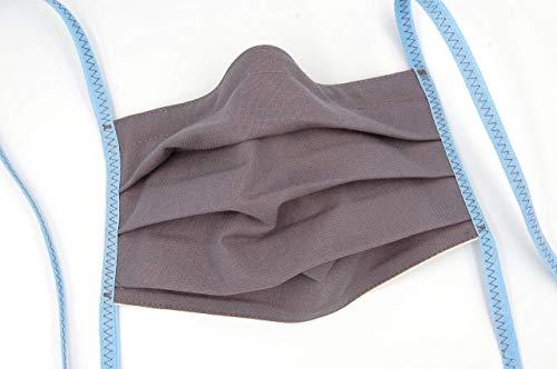 Mund- und Nasenmaske, Gesichtsmaske mit Nasenbügel, Filterfach und Bindebändern, waschbar aus Baumwolle wiederverwendbar