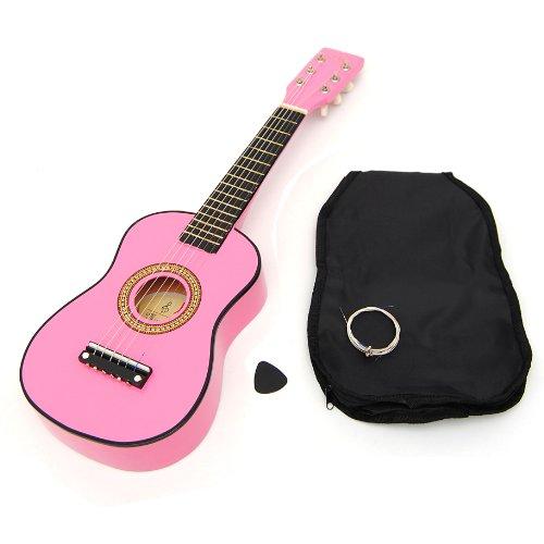 ts-ideen Spielzeuggitarre für Kinder aus Holz in Rosa mit Tasche und Saiten