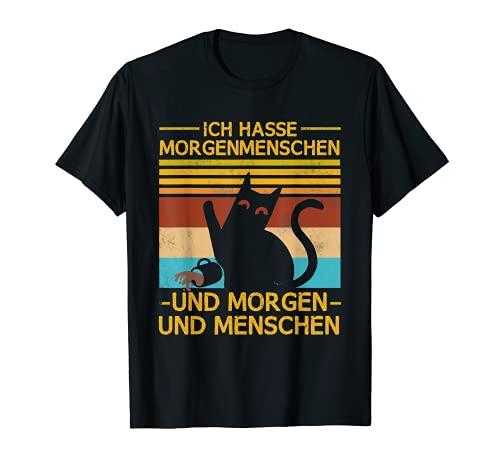 Ich Hasse Morgenmenschen und Morgen und Mens Cat Camiseta