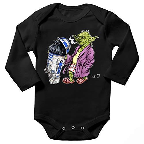 Body bébé Manches Longues Noir Parodie Star Wars - R2-D2 et Yoda - Le Maître en Week-End. (Body bébé de qualité supérieure de Taille 9 Mois - imprimé en France)