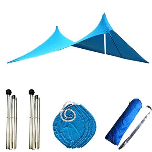 Luckyli Sombra De Tienda De Playa,Toldo Grande para Sombrilla 300 × 280 × 200CM,Refugio Solar con Protección UV UPF50,con 4 Sacos De Arena Y 2 Varillas De Soporte,Azul