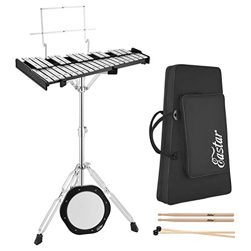 Eastar Advanced 32 Note Glockenspiel Xylophone Bell Kit Percussion Kit for Beginner Student Adult with 8 inch Drum Practice Pad, Stand, Mallets, Drum Sticks, and Carrying Bag