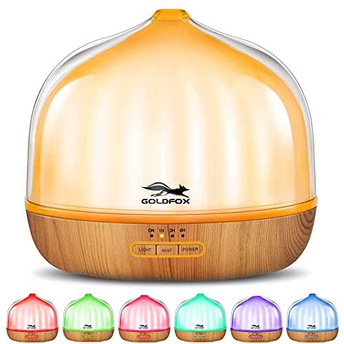 Aroma Diffuser 500 ml,GOLDFOX Aromatherapie Ätherische Öle Luftbefeuchter Ultra Leise Aroma Diffuser,7 Arten LED Lichtfarben,für zuhause, Yoga, Büro, SPA, Schlafzimmer