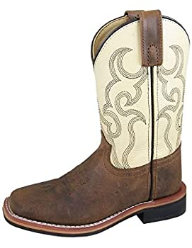 Smoky+Children%27s+Kid%27s+Scout+Brown+and+Cream+Leather+Western+Cowboy+Boot