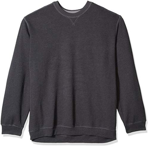 G.H. Bass & Co. Men's Big and Tall Mountain Fleece Crew Neck Sweatshirt, Black Heather, 3X-Large