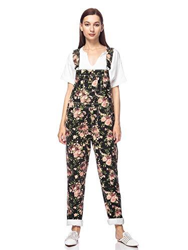 ANNA-KACI Damen Vintage Verstellbar Träger Tasche Loch Gerade Bein Denim Latzhose, Blumen, M