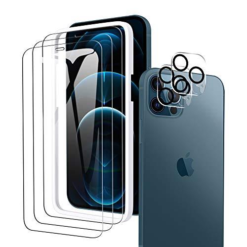 """A-VIDET Schutzfolie Kompatibel mit iPhone 12 Pro 6,1\"""" Panzerglas(3 Stück)+ Kamera Panzerglas(2 Stück)+Montagerahmen, HD Klar Kameraschutz Folie Gehärtetem Glas Displayschutzfolie"""