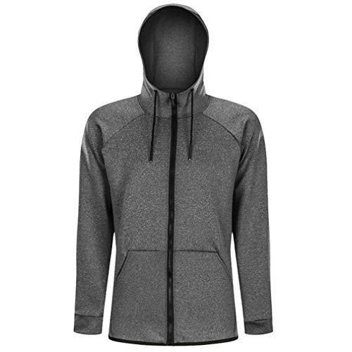 Men's Running Cycling Quick Dry Sports Hoodie Breathable Fitness Jacket Coat Training Sweatshirt Tops Sportswear(Grey, M)