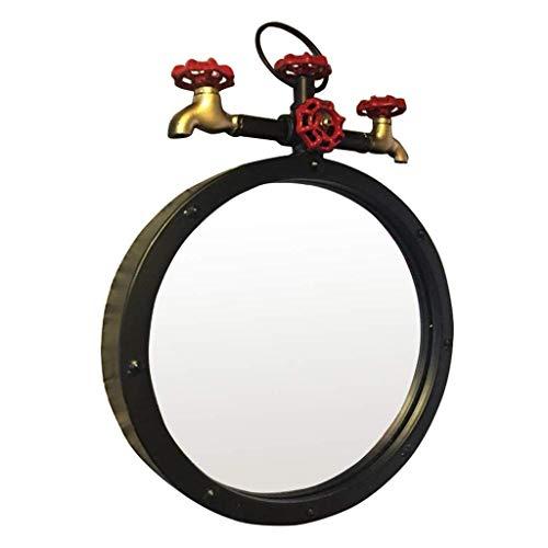 NMDCDH Espejo de baño Espejo de tocador Redondo de Metal montado en la Pared Espejo cosmético para Colgar en la Pared de Maquillaje para entradas, Sala de Estar, Barra de café, Grande (Co