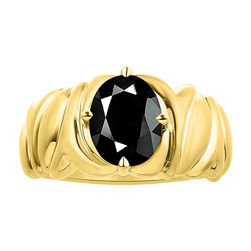 Solitaire Anillo de ónix chapado en oro amarillo plata – piedra de color piedra natal anillo