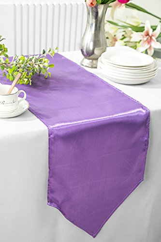 "Wedding Linens Inc. 3 PCS 13.5"" x 108"" satin table Runners Table Runner Cover Linens for Wedding Decoration Party Banquet Events - Victoria Lilac"