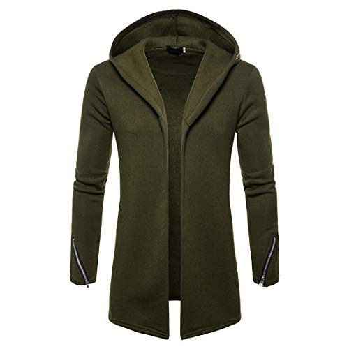 Men's Hooded Long Jacket Classic Basic Cardigans Winter Autumn Hooded Jackets Modern Sporty Men Solid Color Sweatshirts Comfortable Upscale Jacket XXL