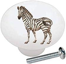 Zebra from The Wild Africa Series African Safari Wildlife Animals - Decorative Ceramic Dresser Drawer Pulls Cabinet Cupboa...