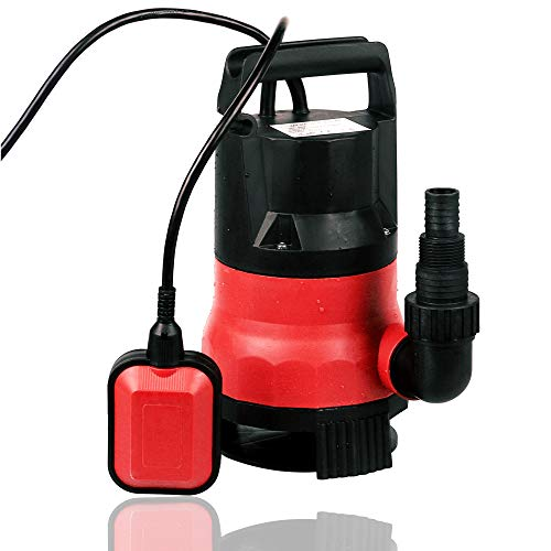Hosmat Submersible Pump - 110V/60Hz 1/2HP 2115 GPH Clean/Dirty Submersible Water Pump Includes Float Switch for Automatic Operation (0.5HP-Red)