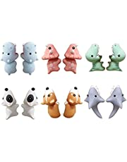 Yililay Bita örhängen, 6 par 3D söta djur lera örhängen med haj hund dinosaurier för flickor och kvinnor