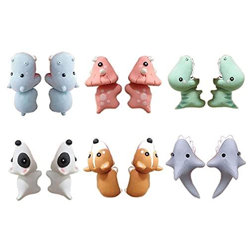 Yililay Bite Pendientes, 6Pairs 3D Pendientes de Arcilla Animal Linda con el Dinosaurio Perro de tiburón para Las niñas Mujeres