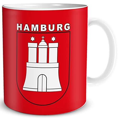 TRIOSK Tasse Hamburg mit Hamburger Stadt Wappen Geschenk Tassen Städte Reise Souvenir für reiselustige Frauen Männer