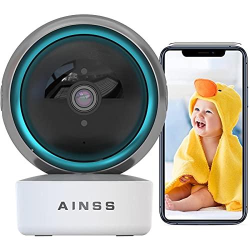 Cámara de Seguridad WiFi 2.4Ghz Baby Monitor Compatible con Alexa 1080P HD Cámara de Vigilancia Interior,Alarma App Seguimiento Automático Audio Bidireccional,iOS/Android,Vision Nocturna 【Cámara+64G】
