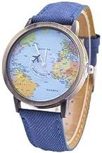 Relógio Mapa Mundi com Avião em Movimento Pulseira Estilo Jeans + Relógio LED - 4cm