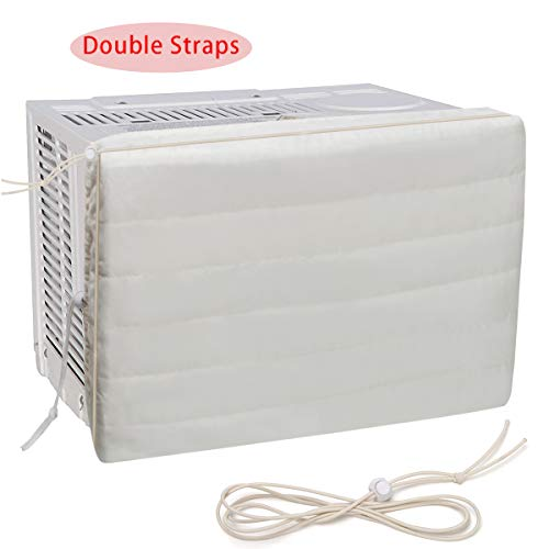 Luxiv Indoor Air Conditioner Cover, White Window Unit Cover Anti-Rust Adjustable Cover for Indoor Window AC with Free Elastic Straps (21x13x2.5)