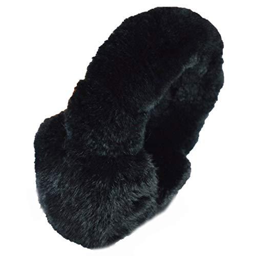 XYW Ohrenschützer - Winter im Freien Winddicht Weibliche Kaninchenfell Ohrenschützer Nettes Mädchen Weiche Ohr Erwärmung Artefakt (Color : Black)