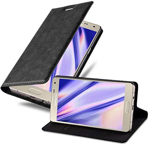Cadorabo Hülle für Samsung Galaxy A5 2015 (5) - Hülle in Nacht SCHWARZ – Handyhülle mit Magnetverschluss, Standfunktion und Kartenfach - Case Cover Schutzhülle Etui Tasche Book Klapp Style