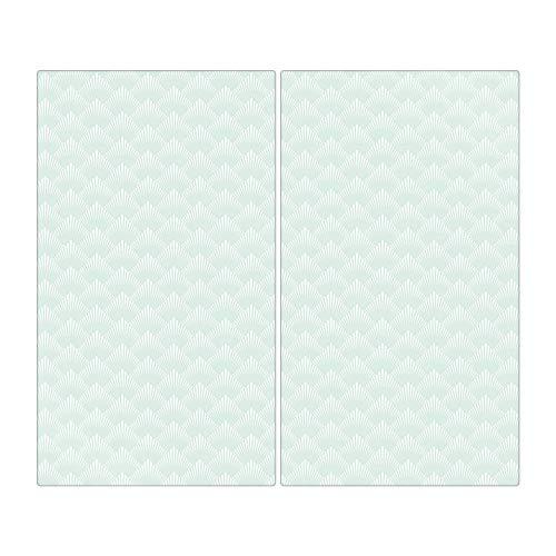 banjado Herdabdeckplatte aus Glas | Herdabdeckung zweiteilig je 30x52cm | Spritzschutz für Ceranfeld oder Induktionsherd | Schneidebrett perfekt für die Küche mit Motiv Strahlen Mint