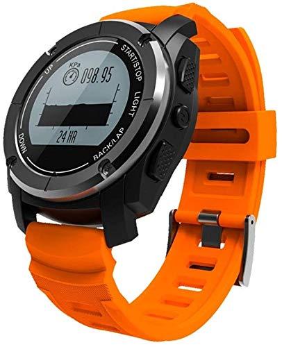 Rastreador de Ejercicios Relojes Inteligentes, Acero Inoxidable Cobertura de Salud Frente S928 Shell Cuarta Bluetooth Reloj Inteligente PC, Negro,Naranja