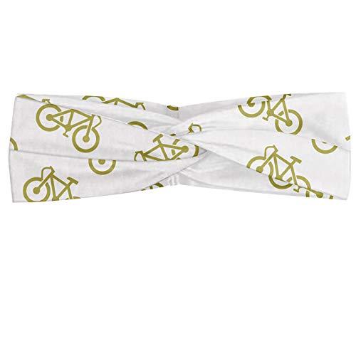 ABAKUHAUS Khaki Halstuch Bandana Kopftuch, Monochromatische Minimal-Muster mit einfachem Design Fahrrad-Piktogramm Fahrrad-Reiter-Hobby, Elastisch und Angenehme alltags accessories, Khaki Weiß