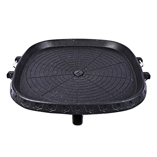 """CAMPMAX Korean BBQ Girll Pan with Maifan Stone Coated Surface, Non-stick Smokeless Stovetop BBQ Grill Plate for Indoor Outdoor 12.5"""" Square"""