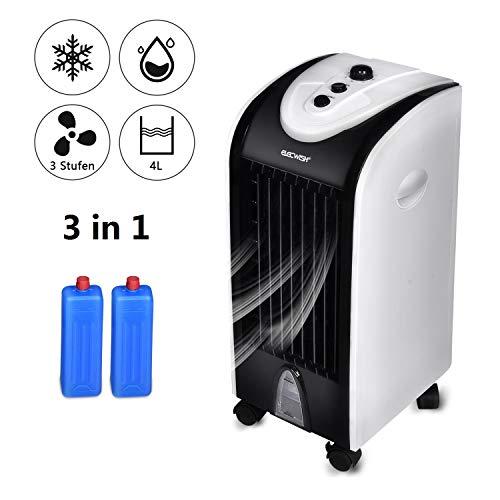 YU YUSING 3 in 1 Rafraîchisseurs d'air par Evaporation Ventilateur Humidificateur Réservoir d'eau 4 litres 75W Système d'Oscillation 3 Vitesses 2 conteneurs de Glace, Blanc