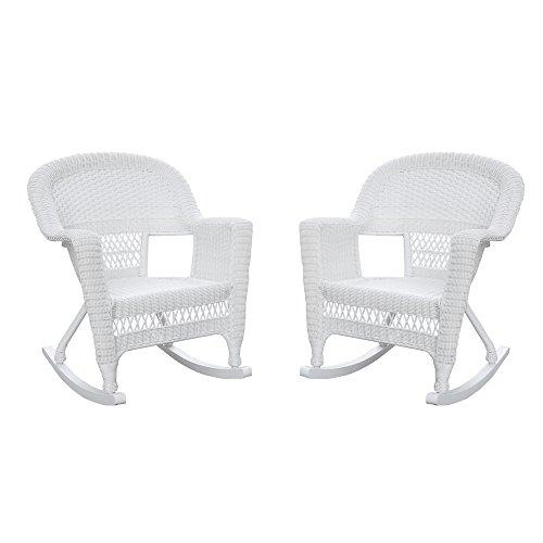 Jeco , Set of 2 Wicker Rocker Chairs, White